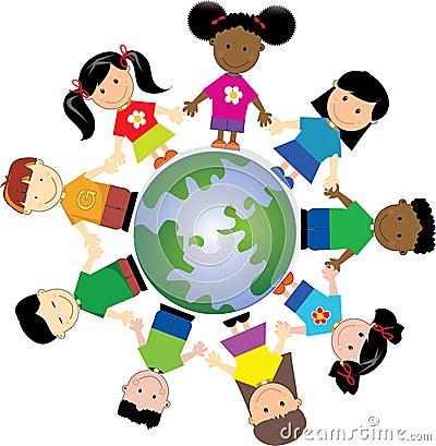 Children holding hands arond the world