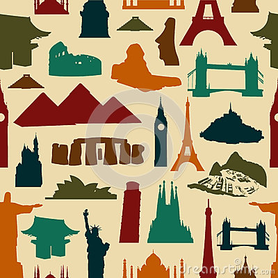 World landmark silhouettes pattern