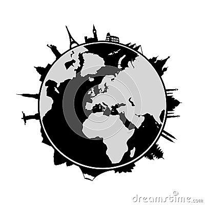 World and landmarks around