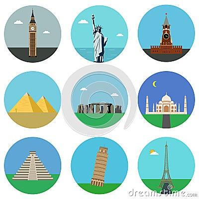 World landmarks flat icons set. Vector