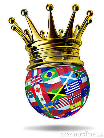 World leader with global flags and gold crown