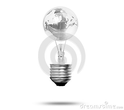 World in Light bulb
