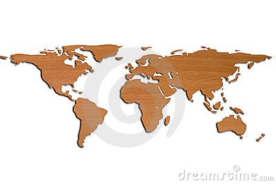 World Map in 3D and wood