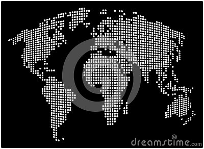 World map - abstract dotted vector background. Black and white silhouette illustration Vector Illustration