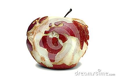 World map on an apple