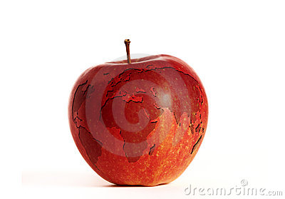 World map on an apple