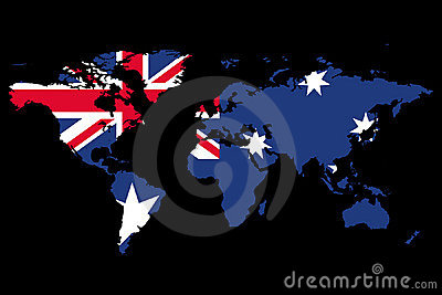 World Map Australia Theme