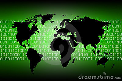 World map - binary code