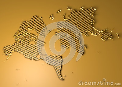 World map with binary numbers as texture Stock Photo