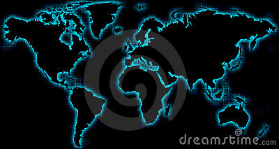 World map black blue glow