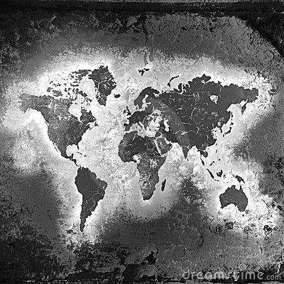The world map, black-and-white tones