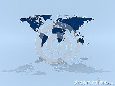 World map on blue