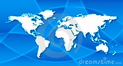 World map in blue background