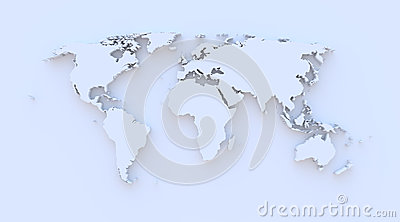 World map blue 3D