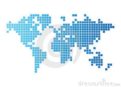 World map of blue tiles