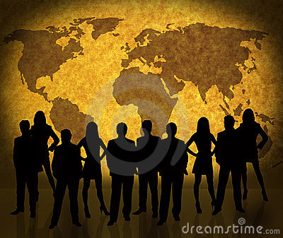 World map and business people