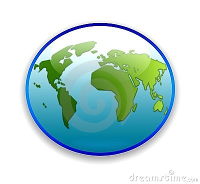 World map on circular button