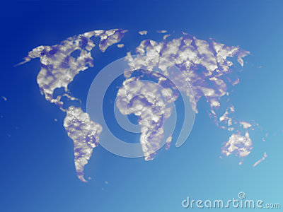 World map clouds in sky
