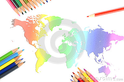 World map and color pencil