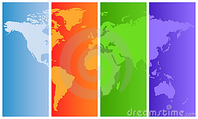 World map on colored panels