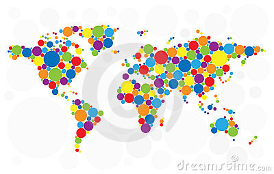 World map of colorful bubbles