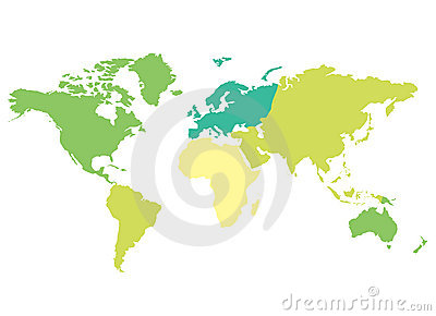 World map - colorful continents