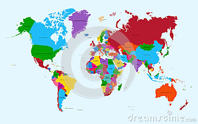 World map, colorful countries atlas EPS10 vector f