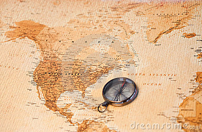 World map with compass showing North America