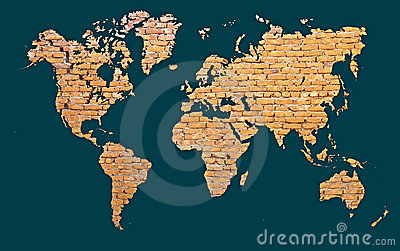 World map with continents made of brick