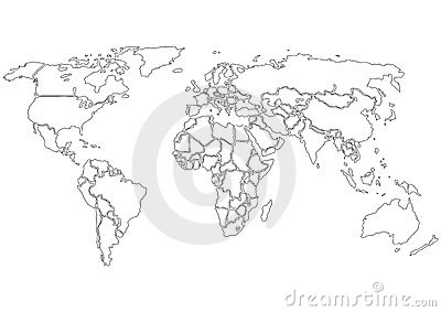 World map contours only