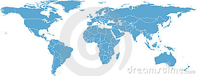 World map with countries Vector Illustration
