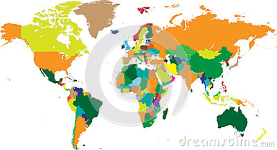 World map countries in vectors