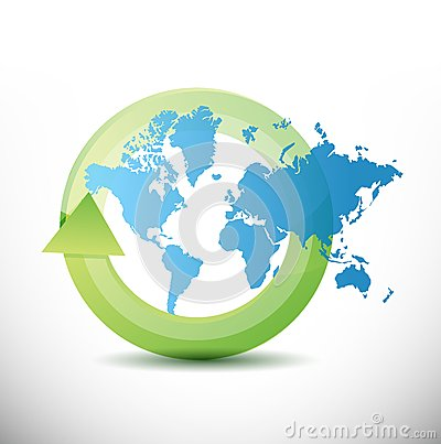 World map cycle illustration design
