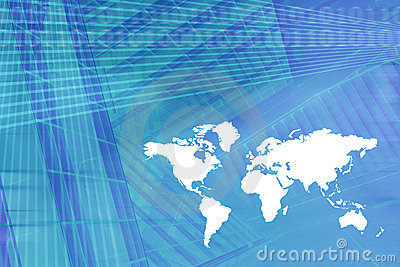 World Map Digital Economy Background