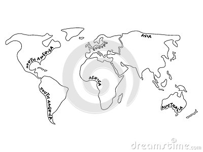 World map divided to six continents north america south america world map divided to six continents north america south america africa europe gumiabroncs Choice Image