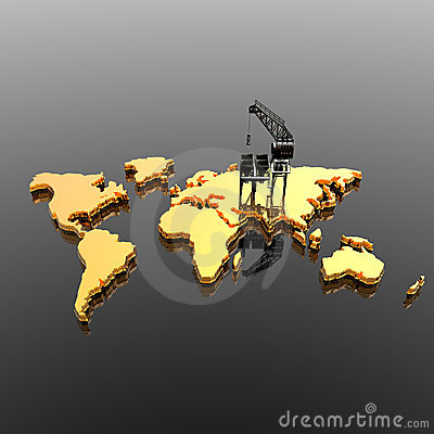 World map with  Drilling Platform