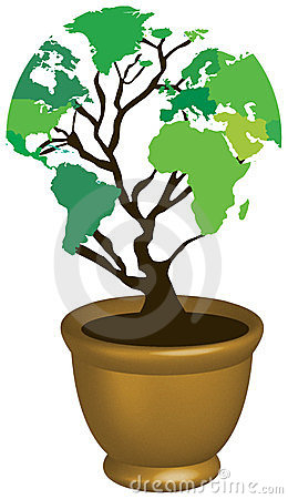 World map eco tree