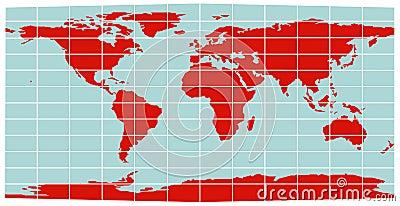 World Map Equirectangular Grid Vector Illustration Cartoondealer