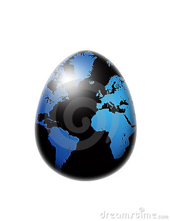World map flag egg isolated over white