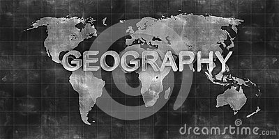 World map geography draw on chalkboard