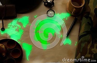 World map glow