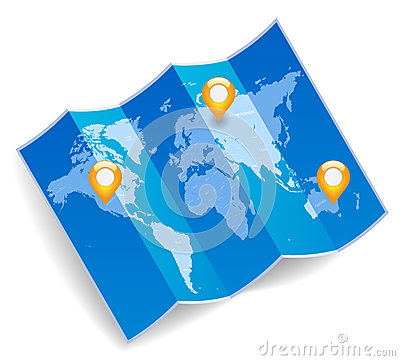 World map with gps marks
