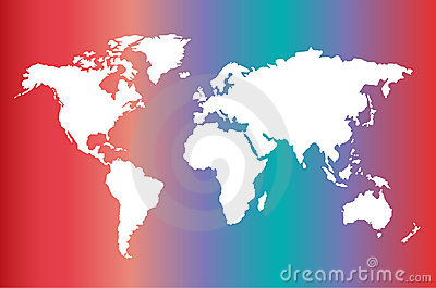 World map on gradient