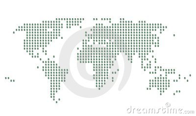 World map with green Dollar signs on gray dots