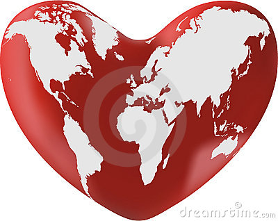 World map on heart