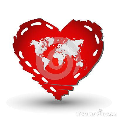 World map in Heart red Stock Photo