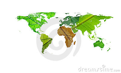World map - help africa leafs texture