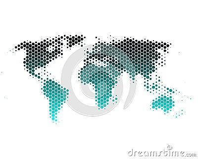 World map in hexagons