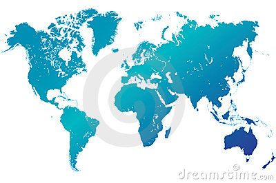 world map highly detailed blue vector