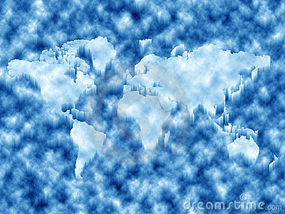 World map in ice
